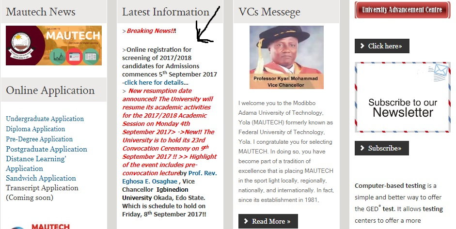 apply for mautech post utme form