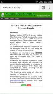 Kasu post utme registration