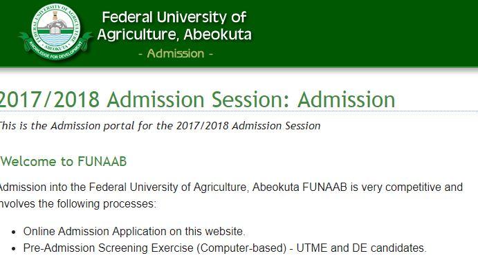 funaab screening date