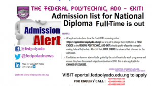 fed poly ado ekiti nd admission list