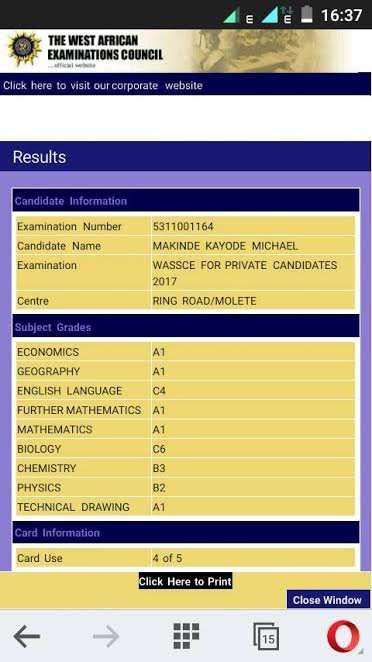 Makinde Kayode WAEC Result