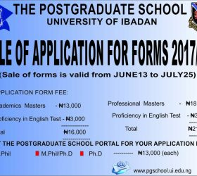 University of Ibadan Post Graduates Form 2018