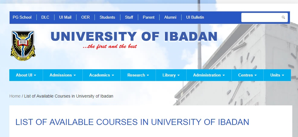 available courses in university of Ibadan