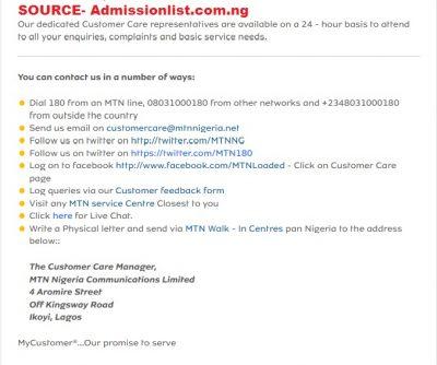 mtn customer care number nigeria